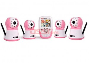 2.4G Wireless Ditigal Baby Monitor with 2.4'' Color LCD Reciver Video Recording and Talking Function And Four Camera