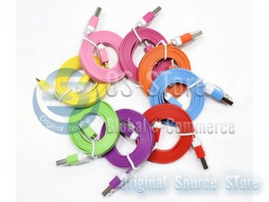 Noodles Color USB To Micro 100cm 200cm 300cm Data charger sync Colorful Cable For iPhone 5 iPod Touch 5th Gen iPod Nano 7th Gen iPad 4th Generation iPad minini