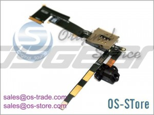 Audio Jack Cable with Sim Connector Replacement for apple iPad 2 3G+Wifi Black