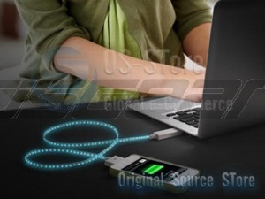 30Pin USB Port Visible Blue Light LED USB Charging Cync Cable for Apple iPhone iPod iPad