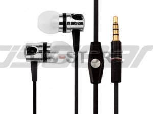 3.5mm Metal Flat Cable In-Ear Earphone Headphone Headset Earbuds with MIC Answering Function for Mobile Phone Tablet PC PSP MP3 MP4 WHF-109